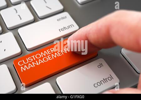 Hand Finger Customer Management Taste drücken. - Stockfoto