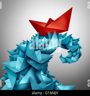 Konzept des Erfolgs und gegenüber der Konkurrenz zu gewinnen, wie ein rotes Papierboot auf einer riesigen Welle - Stockfoto