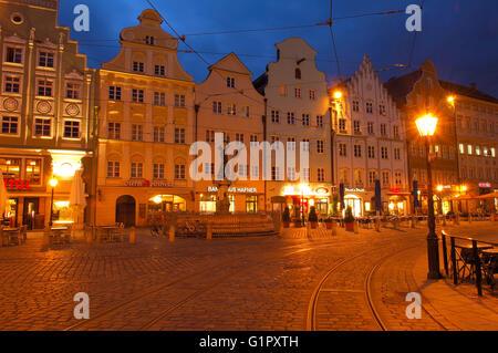 Augsburg, Moritzplatz, Market square, Maximilianstraße, Maximilianstraße, Merkur-Brunnen, romantische Straße, Romantische - Stockfoto