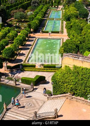 Die Gärten des Alcázar de Los Reyes Cristianos-Residenz Alcazar, Provinz Córdoba, Andalusien, Spanien - Stockfoto