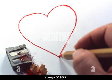 Handzeichnung rotes Herz - Stockfoto