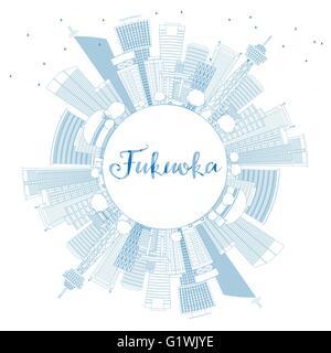 Umriss Fukuoka mit blauen Wahrzeichen und textfreiraum Skyline. Vektor-Illustration. Geschäftsreisen und Tourismus - Stockfoto