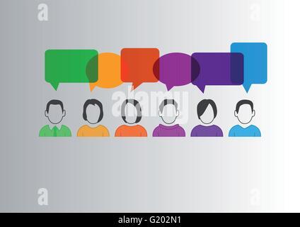 Flaches Design-Vektor-Illustration der Kommunikation zwischen verschiedenen Menschen mit bunten Sprechblasen - Stockfoto
