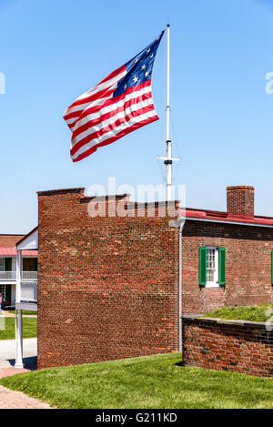 15 Sterne-15 Streifen US-Flagge, Fort McHenry National Park, Baltimore, MD - Stockfoto