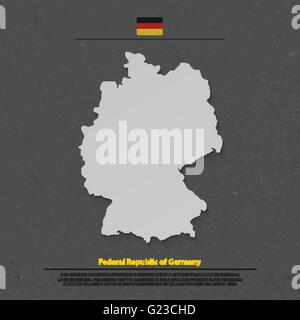 Der Bundesrepublik Deutschland Karte und offizielle Flaggensymbol auf dunklem Hintergrund. Vektor-deutsche politische - Stockfoto