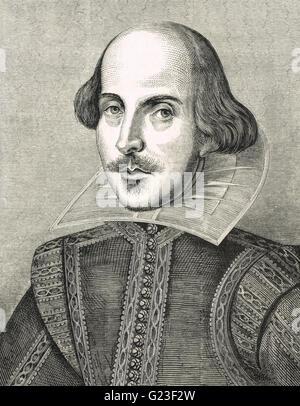 William Shakespeare, Der Barde von Avon, 1564-1616. Eingraviertem Muster nach dem Porträt von Martin Droeshout zum ersten Folio 1623 veröffentlicht.