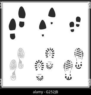 Vektor. Schuh-print-Silhouette. Satz Abdrücke: Sport Laufschuhe, skating Schuhe, klassische Schuhe, Kind Fußabdrücke, - Stockfoto