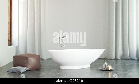... Architektonischen Innenraum Geräumiges Modernes Bad Mit Freistehende  Badewanne, Verschiedene Kissen Und Spa Wie   Stockfoto