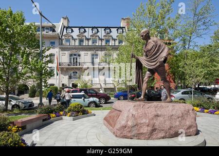 Mahatma Gandhi-Statue vor der indischen Botschaft - Washington, DC USA - Stockfoto