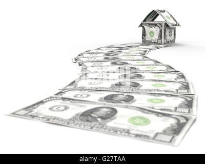 Geld Weg zu einem Haus aus tausend-Dollar-Scheine - Stockfoto