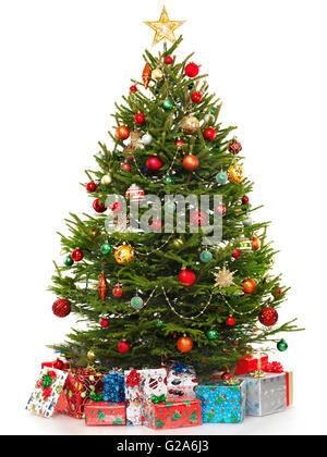 Weihnachtsbaum mit bunten Geschenken umgeben dekoriert - Stockfoto