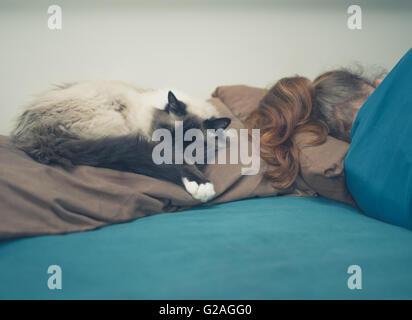 Eine junge Frau schläft in einem Bett mit einer Katze neben ihr - Stockfoto
