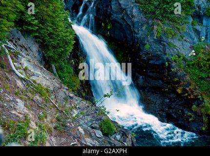 Oberen Narada Wasserfälle in Mt Rainier, WA, USA - Stockfoto