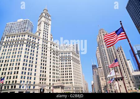 Wrigley Building und Tribune Tower in Chicago, Illinois, USA - Stockfoto