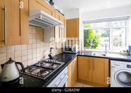 Saubere Moderne Küche Mit Schwarzen Arbeitsplatten Und Holz Schränke. Ein
