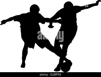 Fußball-Spieler kämpfen um den Ball in einem Fußballspiel - Stockfoto