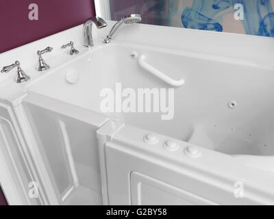 Badezimmer, zugängliche Badewanne mit Tür für Menschen mit Behinderungen - Stockfoto