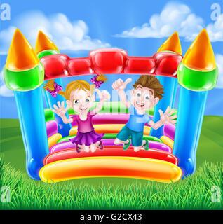 Cartoon-Jungen und Mädchen, die Spaß auf der Hüpfburg springen - Stockfoto