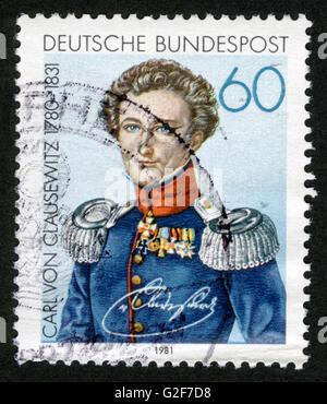 Deutschland, Poststempel, Briefmarke, Post Stempel, Porträt, Carl Von Clausewitz (1780-1831) - Stockfoto