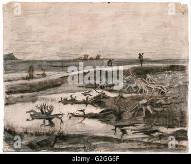 Vincent Van Gogh - Landschaft mit Moor Trunks (Travaux Aux Champs) - Museum of Fine Arts, Boston - Stockfoto