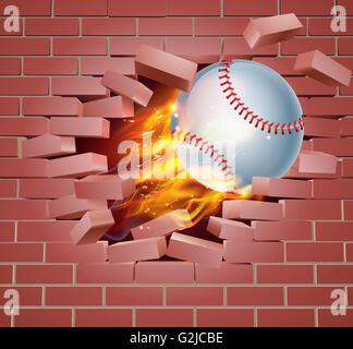 Ein Beispiel für einen brennenden flaming Baseball Ball auf Feuer reißen ein Loch durch die Wand - Stockfoto