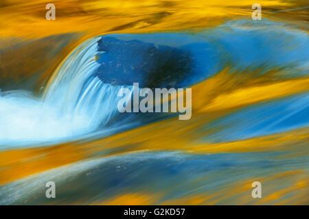 Felsen und Farben des Herbstes spiegelt sich in Rushing River Rushing River Provincial Park Ontario Kanada - Stockfoto
