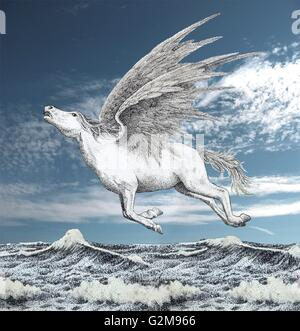 Pegasus fliegt über Meer - Stockfoto