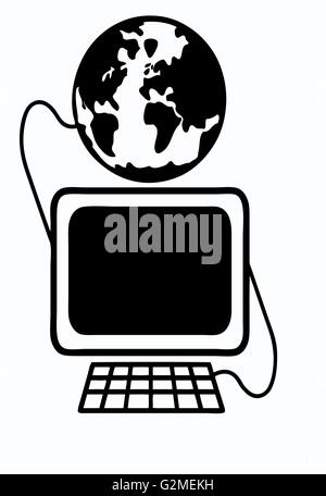 Computer-Monitor und Tastatur geerdet auf weiß - Stockfoto