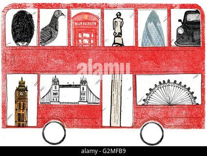 Montage der Sehenswürdigkeiten in London - Stockfoto