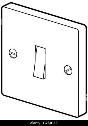 Lichtschalter auf weißem Hintergrund - Stockfoto