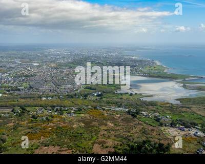 Luftaufnahme, die Bucht von Galway Rusheen mit Reiten am Strand, Atlantic Beach, Sandstrand, Galway, Galway, COUNTY - Stockfoto