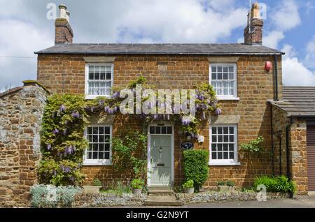 Ziemlich Steinhaus im Dorf wenig Houghton, Glyzinien wachsen auf der Wand und an der Tür. - Stockfoto