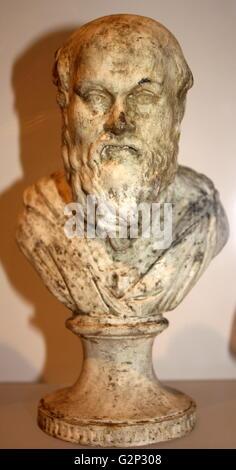 Büste des Sokrates, klassischen griechischen Philosophen. Die aus Gips angefertigt. Ca. 469-399 BC. - Stockfoto