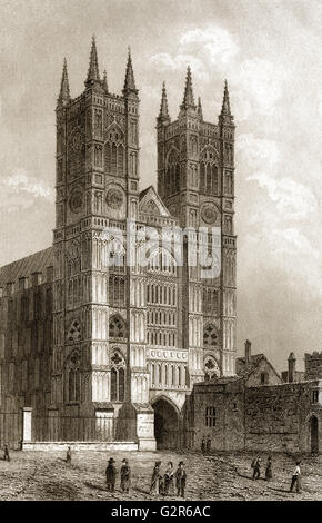 Westfront der Westminster Abbey, London, England - Stockfoto