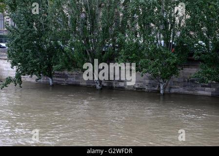 Paris, Frankreich. 3. Juni 2016. Paris Unterwasser, sintflutartigen Regen überschwemmt hat Frankreich, darunter - Stockfoto