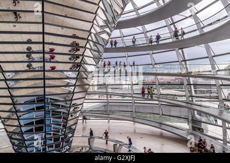 Der Innenraum des Reichstags, in dem sich der Deutsche Bundestag bzw. deutschen Parlament mit großen gläsernen Kuppel - Stockfoto