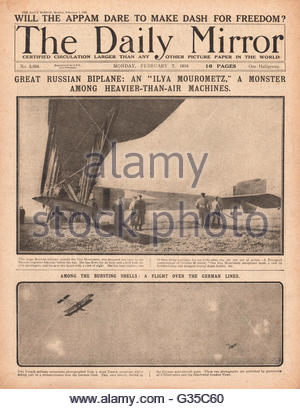 1916 daily Mirror Titelseite russische Doppeldecker russischer Ingenieur Sikorsky Ilya Mourometz erbauen. - Stockfoto