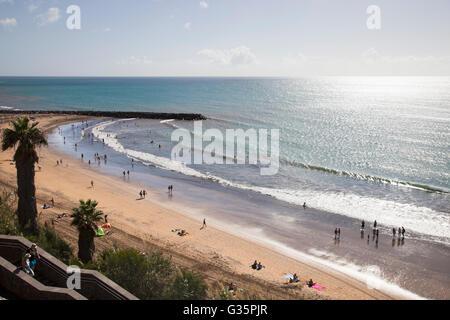 Maspalomas, Promenade und Playa del Ingles, Insel Gran Canaria, Kanarische Inseln, Spanien, Europa - Stockfoto