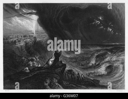 Während des Exodus Moses das Rote Meer Teile und orientiert sich an einer Säule von Rauch - Stockfoto