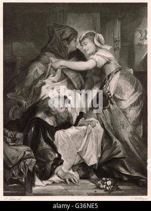 Eine Szene aus Shakespeares Komödie die lustigen Weiber von Windsor, in dem Falstaff in einen Wäschekorb durch die - Stockfoto