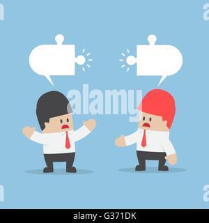 Geschäftsleute haben anderen Meinung mit leeren Puzzle Rede über den Kopf - Stockfoto
