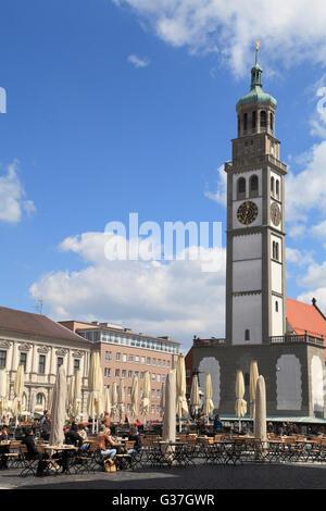 Deutschland, Bayern, Augsburg, Rathausplatz, Perlach-Turm, - Stockfoto