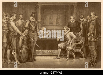 Guy Fawkes ist von James verhört ich und seinem Rat Datum: 1605 - Stockfoto