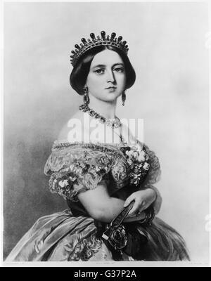 Königin Victoria (1819-1901) in einem Porträt aus dem Jahr 1852.        Datum: 1852 - Stockfoto
