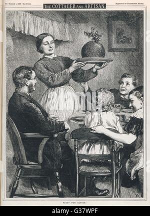 Mutter bringt in den Pudding!          Datum: 1869 - Stockfoto