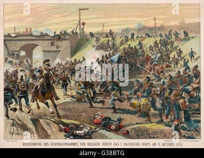 Die Preußen Angriff ein Bahndamm in Orleans.        Datum: 11. Oktober 1870 - Stockfoto