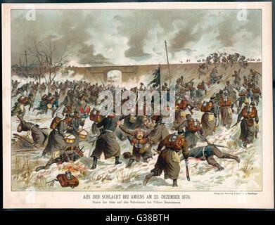 DIE Schlacht von AMIENS die Preußen 44. Regiment angreifen eine Eisenbahn-Damm bei Villers Bretonneux.     Datum: - Stockfoto