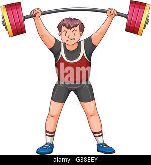 Mann-Athlet heben der Hantel Abbildung - Stockfoto