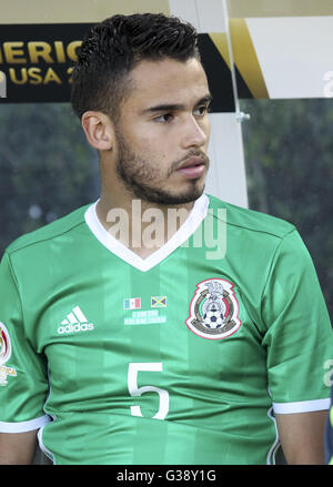 Los Angeles, Kalifornien, USA. 9. Juni 2016. Mexiko-Verteidiger Diego Reyes #5 in einer Copa America Fussball match - Stockfoto