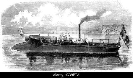 Ein gut ausgestattetes französische Kanonenboot, verwendet, um Seine während der Belagerung von Paris zu verteidigen. - Stockfoto